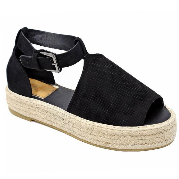 58ac1af7241 Black Peep Toe Flatform Espadrille Sandals NIB